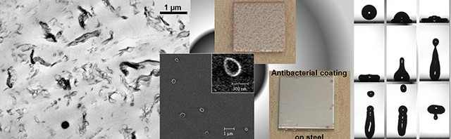 from left to right : highly dispersed graphene sheets in PLA; polymer vesicles as observed by cryo-SEM; antibacterial effect on steel of a bio-inspired coating: water drop bouncing back on a superhydrophobic coating (Photo : UMons)