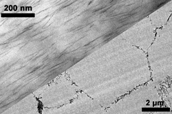Layered silicates in EVA (left)/Carbon nanotubes organised as a net in PMMA (right)